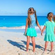 Little adorable girls during tropical beach vacation — Stock Photo #63836125