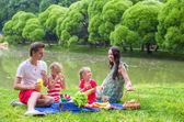 Familia joven feliz ir de picnic al aire libre cerca del lago — Foto de Stock