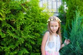 Adorable little girl happy outdoor at summer time — Stock Photo