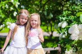 Little adorable girls at blossom trees park — Stock Photo