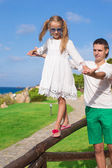 Adorable little girl and happy dad outdoor — Stock Photo