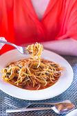 Spaghetti a la Bolognese in the white plate — Stock Photo
