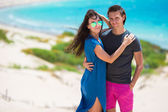 Young beautiful family during beach tropical vacation — Stock Photo