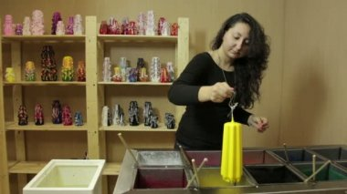 Woman Coloring Candles — Stock Video