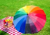 Rainbow umbrella and Picnic basket — Stock Photo