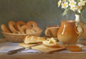 Bread and milk — Stock Photo