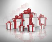 подарочные коробки с красной лентой и бантом — Стоковое фото