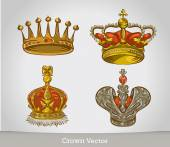 Set of gold crowns isolated. — Stock Vector