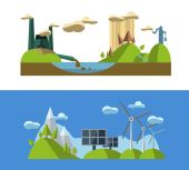 Icons of ecology, environment, green energy and pollution — Stock Vector