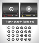 Media players designs — Vector de stock