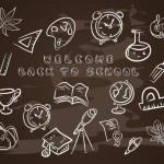 Back to school on chalk blackboard — Stock Vector #71115863