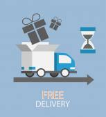 Free delivery concept in flat style — Stock Vector