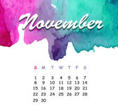 Beautiful watercolor calendar. November — Stock Vector