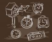 Collection of hand-drawn clocks — Stock Vector