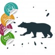 Set of big sale tags with bear — Stock Vector #78283620