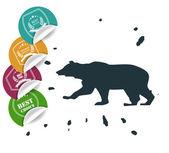 Insieme delle etichette di grande vendita con orso — Vettoriale Stock