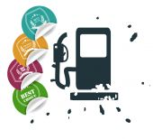 Sale tags with gas pump icon — Stock Vector