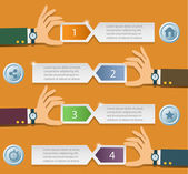 Шаблон бизнес руки команде Инфографика — Cтоковый вектор