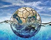 Dried up planet immersed in the waters of world ocean — Stock Photo