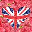 The Union Jack in the shape of a heart on a background of raspberry. — Stock Photo #53541673