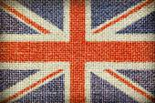 Texture of coarse cloth with the image of the Union Jack. — Stock Photo