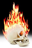 The human skull burning in the fire — Stock Photo