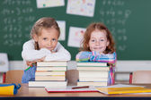 Little girls with their school books — Foto de Stock