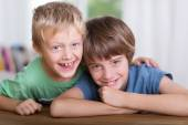 Two happy affectionate young brothers — Stock Photo