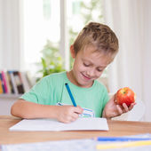 Happy young boy doing schoolwork — Stock Photo