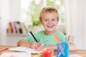 Smiling happy young boy doing schoolwork — Stock Photo