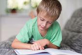 Piccolo ragazzo che studia a casa — Foto Stock