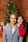 Relaxed couple celebrating christmas — Stok fotoğraf