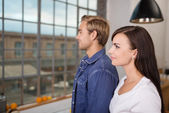 Young couple in profile — Stock Photo