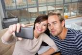 Couple makes selfie with phone — Stock Photo