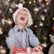 Laughing boy holding Christmas gift — Stock Photo #58662763