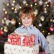 Young Boy Holding Christmas Boxes — Stock Photo #58662957