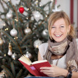 Woman reading a book at Christmas — Stock Photo #58666009