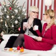 Girlfriends talking in front of christmas tree — Stock Photo #58666309