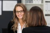 Businesswoman in front Co-worker — Stock Photo