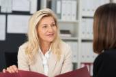 Female officer doing job interview — Stock Photo