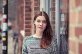 Woman in Gray sweater — Stock fotografie