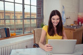 Woman surfing internet — Stock Photo