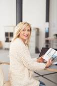 Office Woman Holding a Book — Stock Photo