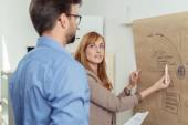 Business Partners Discussing Project with Poster — Stock Photo