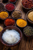 Spices in wooden Indonesian bowls — Foto Stock