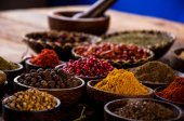 Colorful spices, oriental theme — Stock Photo