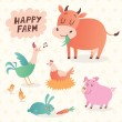 Happy farm vector set — Stock Vector #53575911