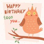 Happy Birthday vector card with owl — Stock Vector