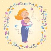 векторная иллюстрация матери и сына — Cтоковый вектор