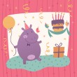 Birthday greeting card with cute hippo — Stock Vector #58865009
